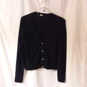 J. Crew Black Wool Vneck  Cardigan size medium